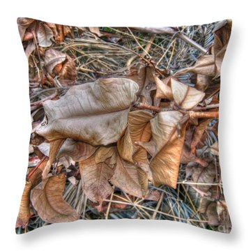 Throw Pillow featuring the photograph  Dead Leaves by Michelle Meenawong