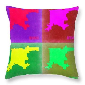 Denver Pop Art Map 2 Throw Pillow by Naxart Studio