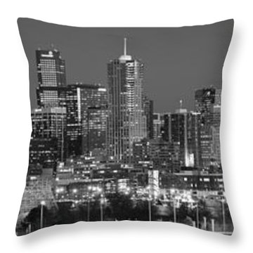 Throw Pillow featuring the photograph  Denver Skyline At Dusk Black And White Bw Evening Extra Wide Panorama Broncos  by Jon Holiday