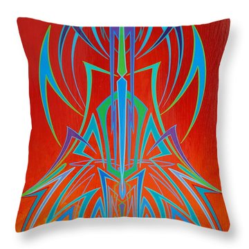 Throw Pillow featuring the painting  Desert Fire Storm by Alan Johnson