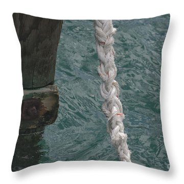 Dock Rope And Wood Throw Pillow