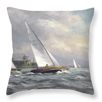 Dragons At Garrison Point Throw Pillow by Vic Trevett