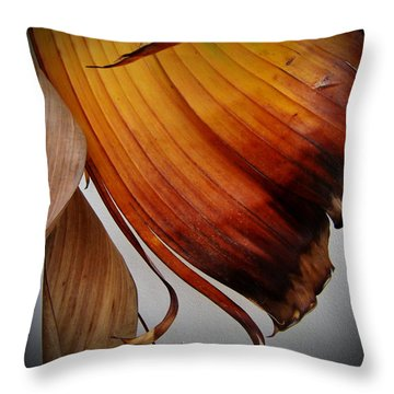 Dried Leaves Throw Pillow by Michelle Meenawong