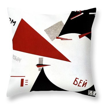 Drive Red Wedges In White Troops 1920 Throw Pillow by Lazar Lissitzky