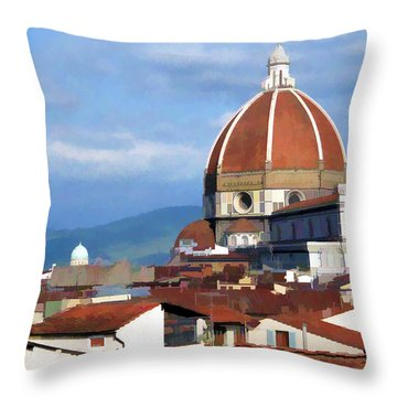 Throw Pillow featuring the photograph  Duomo Of Florence # 3 by Allen Beatty