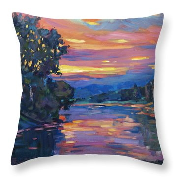 Dusk River Throw Pillow by David Lloyd Glover