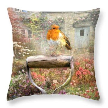 Throw Pillow featuring the digital art  English Robin by Trudi Simmonds