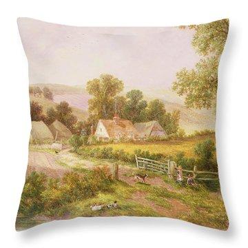 Farmyard Scene Throw Pillow by C L Boes