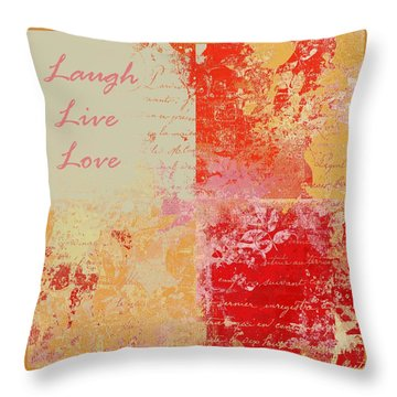 Feuilleton De Nature - Laugh Live Love - 01efr01 Throw Pillow by Variance Collections