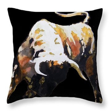 Fight Bull In Black Throw Pillow by J- J- Espinoza