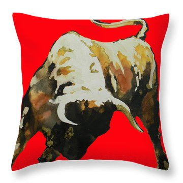 Fight Bull In Red Throw Pillow by J- J- Espinoza