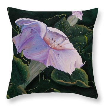 Throw Pillow featuring the painting  First  Trumpet Flower  Of Summer by Sharon Duguay