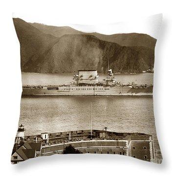 U. S. S. Lexington Cv-2 Fort Point Golden Gate San Francisco Bay California 1928 Throw Pillow