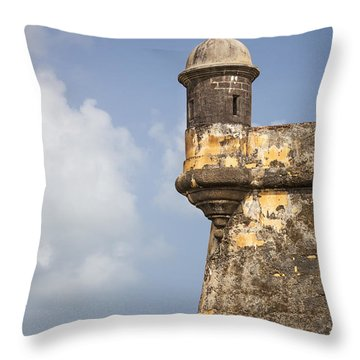 Throw Pillow featuring the photograph  Fortified Walls And Sentry Box Of Fort San Felipe Del Morro by Bryan Mullennix