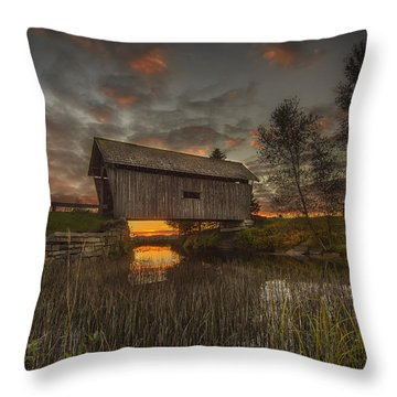 Foster Covered Bridge Sunset Throw Pillow