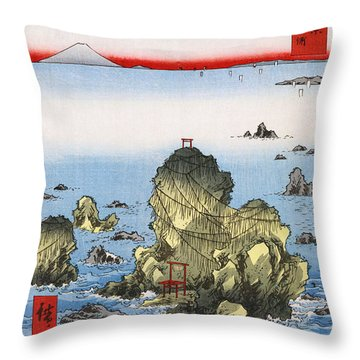 Futamigaura In Ise Province Throw Pillow by Georgia Fowler