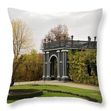 Throw Pillow featuring the photograph  Garden Gate Schonbrunn Palace Vienna Austria by Imran Ahmed
