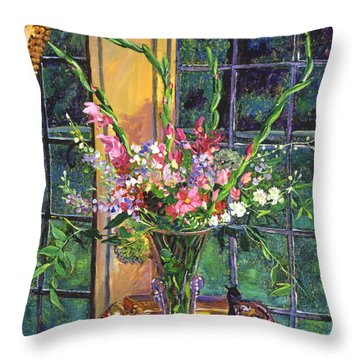 Throw Pillow Arrangement : Gladiola Arrangement Painting by David Lloyd Glover