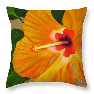Golden Glow - Hibiscus Flower Throw Pillow