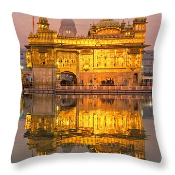 Golden Temple In Amritsar - Punjab - India Throw Pillow by Luciano Mortula