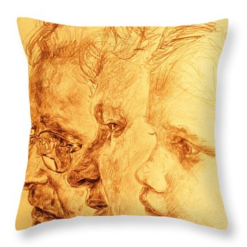 Have Your 3 Generations Drawn Or Painted Throw Pillow by PainterArtistFINs Husband MAESTRO