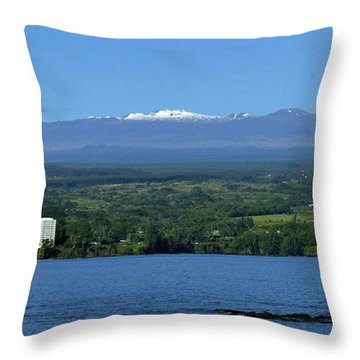 Hawaii's Snow Above Hilo Bay Hawaii Throw Pillow