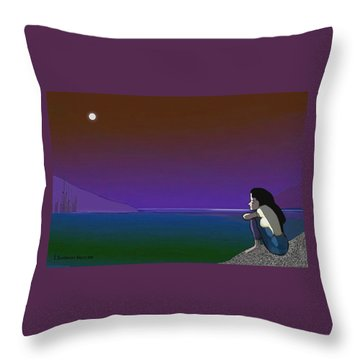 075 - Sitting At The Edge Of The Bay Throw Pillow