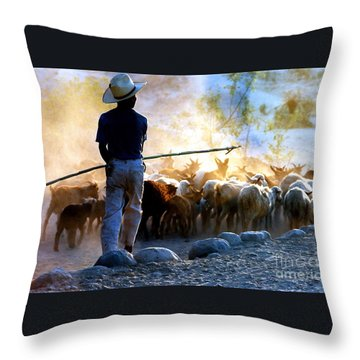Herder Going Home In Mexico Throw Pillow by Phyllis Kaltenbach