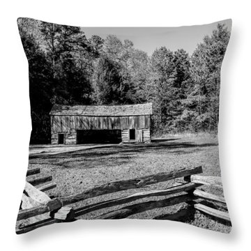 Historical Cantilever Barn At Cades Cove Tennessee In Black And White Throw Pillow by Kathy Clark