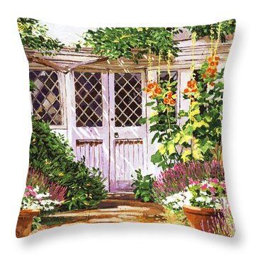 Hollyhock Gardens Throw Pillow by David Lloyd Glover
