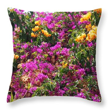 Throw Pillow featuring the photograph   Hot Color Patches  by Arik Baltinester