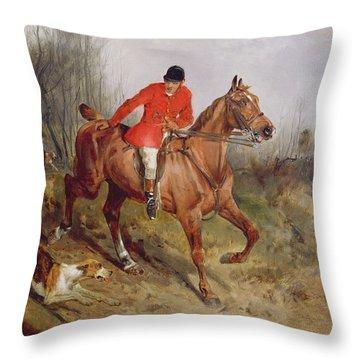 Hunting Scene Throw Pillow by John Alfred  Wheeler