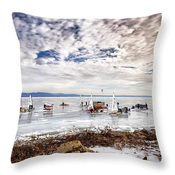 Ice Boats On Lake Pepin Throw Pillow