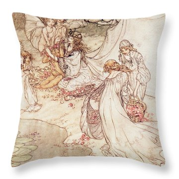 Illustration For A Fairy Tale Fairy Queen Covering A Child With Blossom Throw Pillow