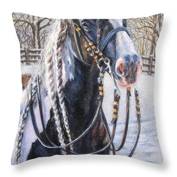 I'm Ready For The Ribbons Gypsy Vanner Horse Throw Pillow