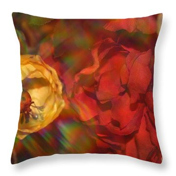Throw Pillow featuring the photograph  Impressionistic Bouquet Of Red Flowers by Dora Sofia Caputo Photographic Art and Design