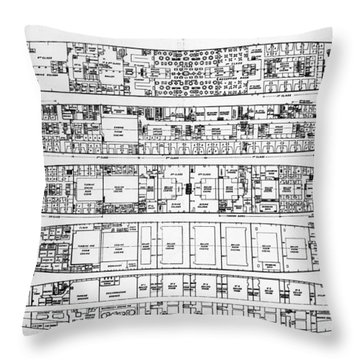 Inquiry In The Loss Of The Titanic Cross Sections Of The Ship  Throw Pillow by English School