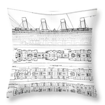Inquiry Into The Loss Of The Titanic Cross Sections Of The Ship  Throw Pillow by English School
