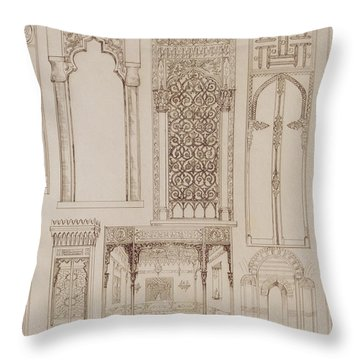 Islamic And Moorish Design For Shutters And Divans Throw Pillow by Jean Francois Albanis de Beaumont
