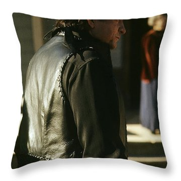 Throw Pillow featuring the photograph  Johnny Cash About To Draw On Kirk Douglas Old Tucson Arizona 1971 by David Lee Guss