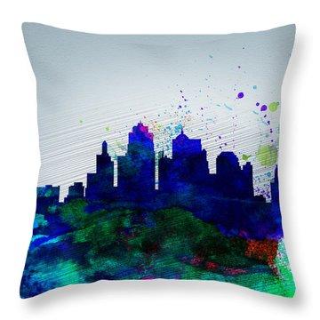 Kansas City Watercolor Skyline Throw Pillow
