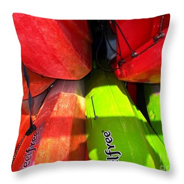 Kayaks Throw Pillow by Michelle Meenawong