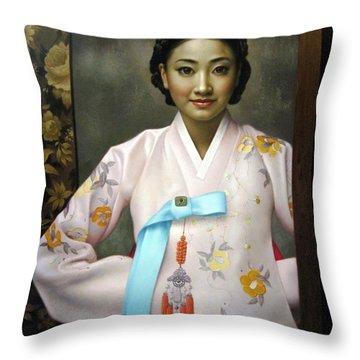 Korean Girls Throw Pillow
