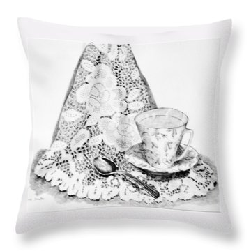 Lace With Cup Throw Pillow