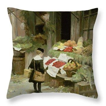 Little Boy At The Market Throw Pillow by Victor Gabriel Gilbert