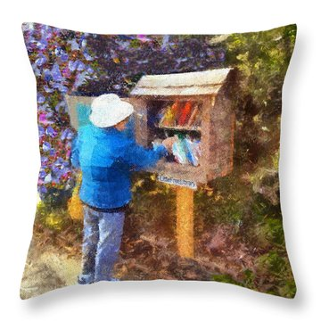 Throw Pillow featuring the painting  Alameda  Little Free Library by Linda Weinstock
