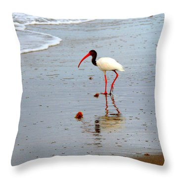 Lone Ibis Throw Pillow