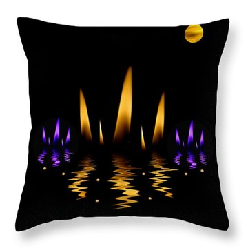 Lotus On Fire In The Dark Night Throw Pillow by Pepita Selles