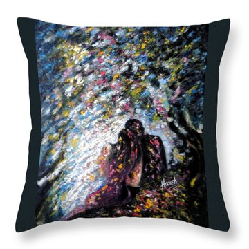Throw Pillow featuring the painting  Love In Niagara Fall by Harsh Malik