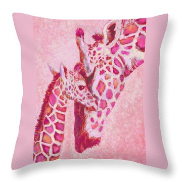 Loving Pink Giraffes Throw Pillow by Jane Schnetlage